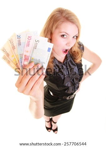 Rich happy blonde business woman showing euro currency money banknotes. Economy, finance and business work. - stock photo
