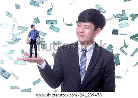 rich man boss looking employee - stock photo