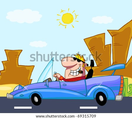 Rich Man Drives Convertible In Front Western Landscape - stock photo