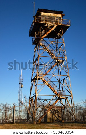 Rich Mountain Fire Tower - stock photo