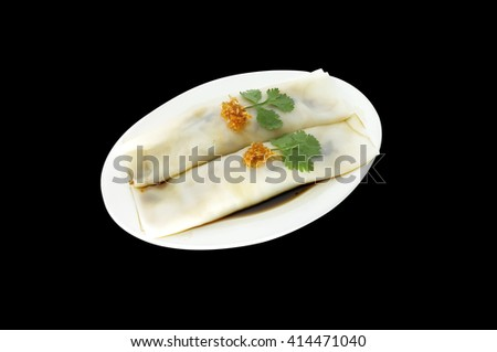 Rich noodle paste with Pork fried bamboo shoots  on black background , Thai food - stock photo