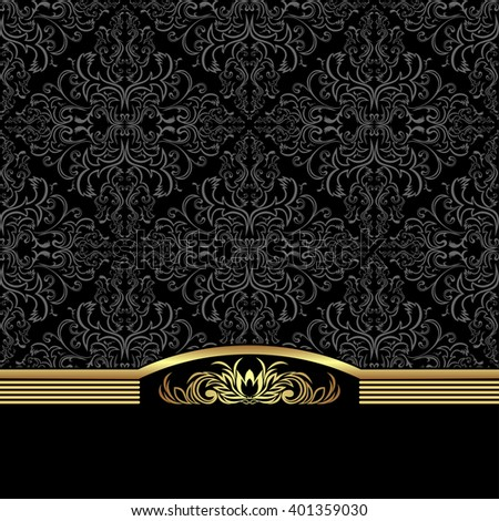 Rich ornamental Background decorated the elegant  Border. Raster version. - stock photo