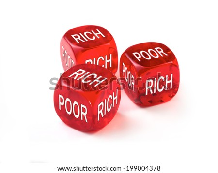 Rich Poor concept with three red dice on a white background