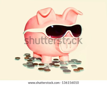 Rich successful businessman businesswoman man woman with ssunglasses and coins money dollars isolated on white background - stock photo