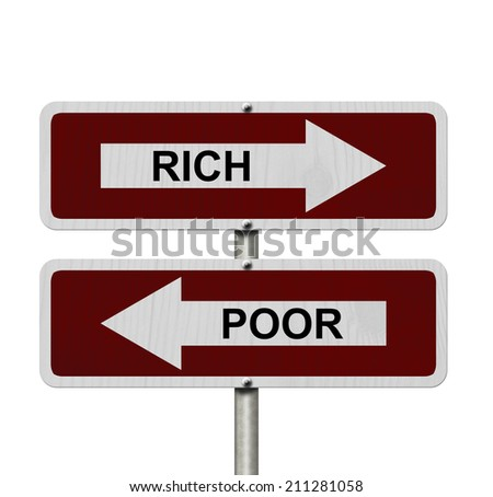 Rich versus Poor, Red and white street signs with words Rich and Poor isolated on white