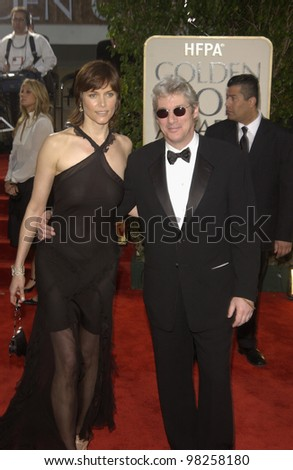 RICHARD GERE & CAREY LOWELL at the Golden Globe Awards at the Beverly Hills Hilton Hotel. 19JAN2003.  Paul Smith / Featureflash