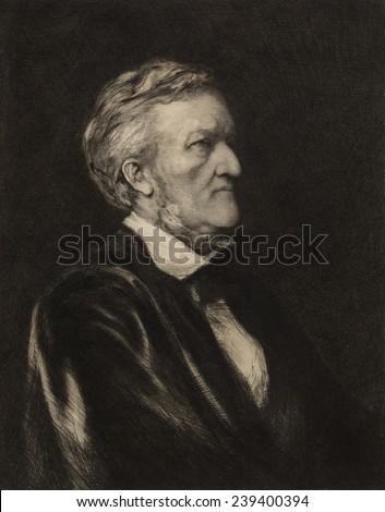 Richard Wagner (1913-1883) German composer. Portrait etching by German born artist Hubert von Herkomer (1849-1914) - stock photo