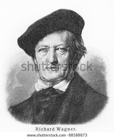 Richard Wagner - Picture from Meyers Lexicon books written in German language. Collection of 21 volumes published between 1905 and 1909. - stock photo