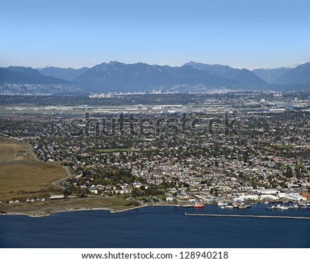 Richmond and Steveston B.C - Metro Vancouver, Vancouver International Airport, Coast Mountains and Fraser Valley - stock photo