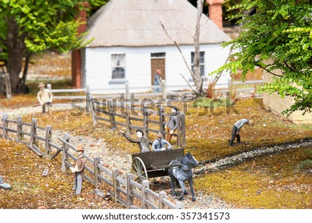 "RICHMOND, AUSTRALIA - NOVEMBER 10: Scene from  architecturally accurate ""Old Hobart Town"" model historic village"