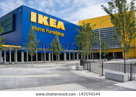 RICHMOND, BC, CANADA - MAY 30, 2013: IKEA Richmond store on May 30, 2013. Founded in Sweden in 1943, Ikea is the world's largest furniture retailer. - stock photo