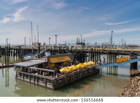 RICHMOND, CANADA - AUGUST 22: Pajo's fish and chips floating restaurant on August 22, 2013 in Steveston Village, Richmond, British Columbia. - stock photo