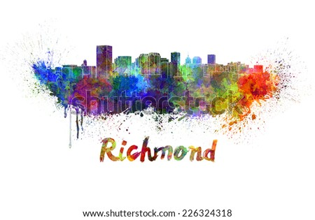 Richmond skyline in watercolor splatters with clipping path