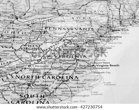 RICHMOND, VIRGINIA - CIRCA MAY 2016: Map of the state of Virginia with selective focus on state name in black and white