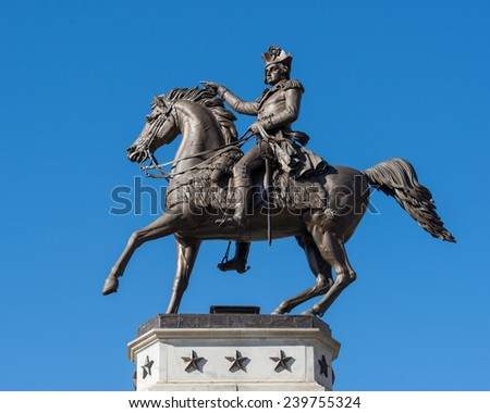 RICHMOND, VIRGINIA - DECEMBER 14: George Washington Equestrian Monument on Capitol Square near the Virginia State Capitol on December 14, 2014 in Richmond, Virginia  - stock photo