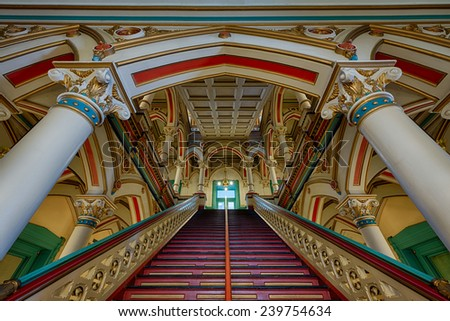 RICHMOND, VIRGINIA - DECEMBER 15: Grand staircase in the lobby of the Old City Hall on December 15, 2014 in Richmond, Virginia - stock photo