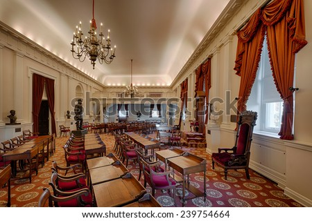 RICHMOND, VIRGINIA - DECEMBER 15: Old House of Representatives chamber in the Virginia State Capitol on December 15, 2014 in Richmond, Virginia - stock photo