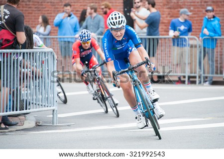 RICHMOND VIRGINIA - SEPTEMBER 26: Cyclists compete in the elite women's road race at the UCI Road World Championships on September 26, 2015 in Richmond, Virginia