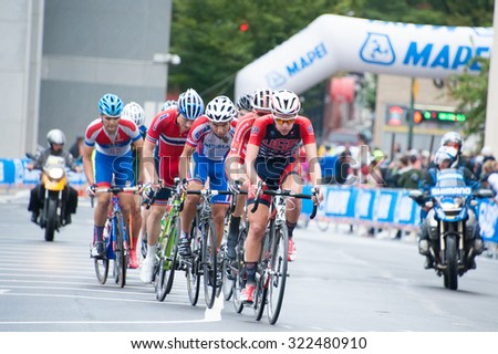 RICHMOND, VIRGINIA - SEPTEMBER 26: Cyclists compete in the junior men's road race at the UCI Road World Championships on September 26, 2015 in Richmond, Virginia