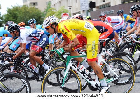 RICHMOND, VIRGINIA - SEPTEMBER 25 - Cyclists compete in the men's under 23 road circuit race at the UCI World Road Championships  on September 25, 2015 in Richmond Virginia - stock photo