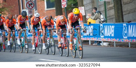 RICHMOND, VIRGINIA - SEPTEMBER 27: Dutch riders compete in the elite men's road race at the UCI Road World Championships on September 27, 2015 in Richmond, Virginia - stock photo