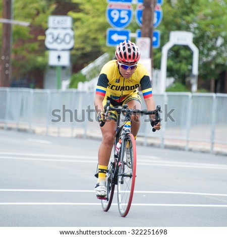 RICHMOND VIRGINIA - SEPTEMBER 26: Miryan Nunez (ECU) competes in the elite women's road race at the UCI Road World Championships on September 26, 2015 in Richmond, Virginia - stock photo