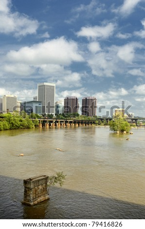 Richmond Virginia Skyline city on the James River/ Richmond on the James/River City - stock photo