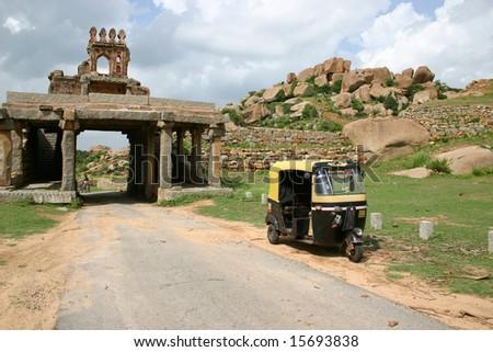 rickshaw in Hampi - stock photo