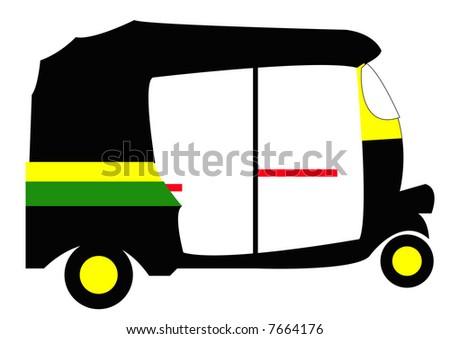 rickshaw side view - stock photo
