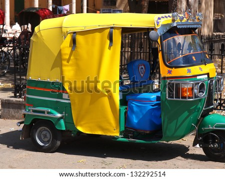 rickshaw tuk-tuk taxi in New delhi ,India - stock photo