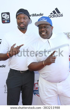 Ricky Smith and Cedric the Entertainer arrives at the inaugural Stephen Bishop celebrity golf invitational benefiting R.A.K.E. on Feb. 15, 2016 at Calabasas Country Club in Calabasas, CA. - stock photo