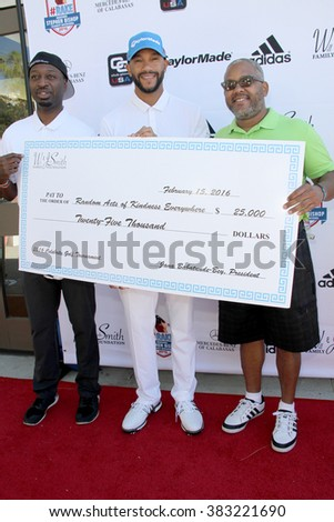 Ricky Smith, Stephen Bishop and Harry Smith at the inaugural Stephen Bishop celebrity golf invitational benefiting R.A.K.E. on Feb. 15, 2016 at Calabasas Country Club in Calabasas, CA. - stock photo