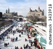 Rideau Canal, Parliament of Canada in winter - stock photo