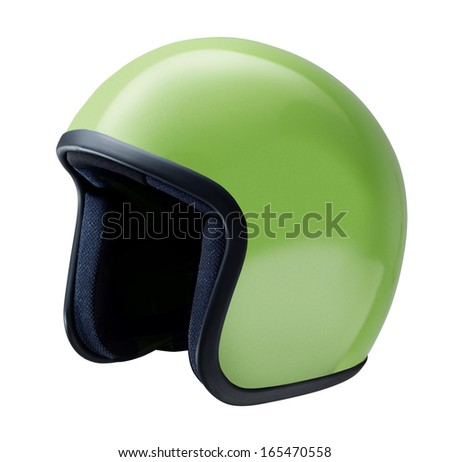rider helmet, vintage or classic style isolated on white background - stock photo