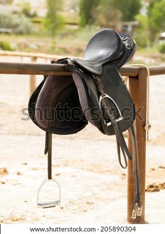 Rider horse saddle in the background mountains, Turkey - stock photo