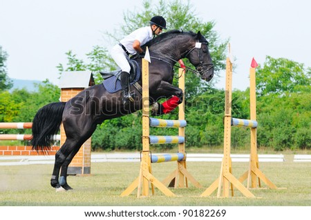 Rider in jumping show