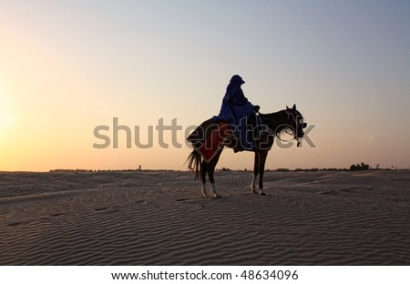 Rider in the Sahara desert - stock photo