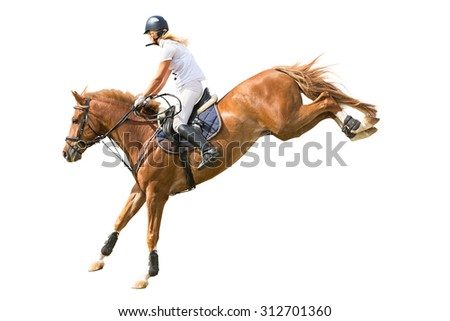 Rider jumping on horse isolated on white. - stock photo