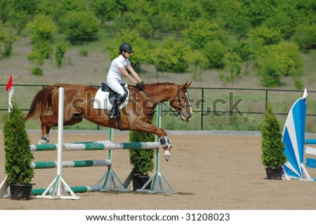 Rider on red horse in the jumping show