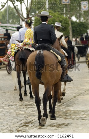 rider taking a walk in the fair of Seville