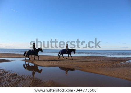 Riders on horses galloping along the shoreline. - stock photo