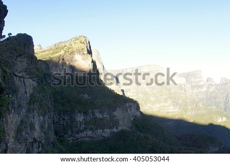 Ridge tour in Simien mountains, Ethiopia - stock photo