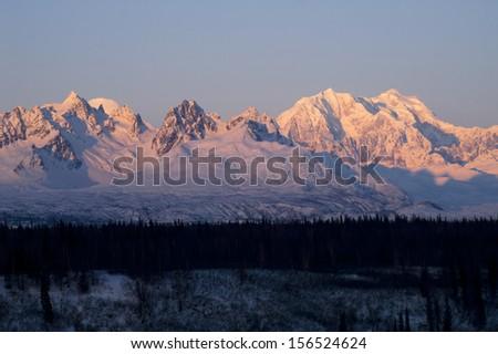 Ridges Peaks Mount McKinley Denali National Park Alaska Mountain Range United States - stock photo