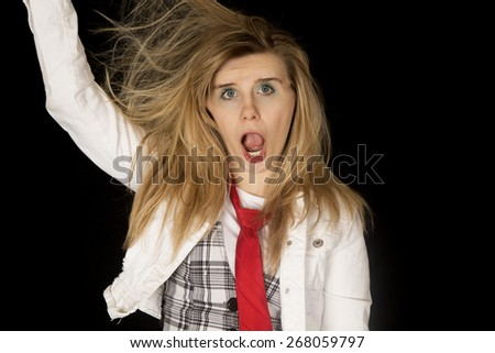 ridiculous woman with mouth open arm raised