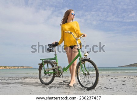 Riding a bike at the seaside