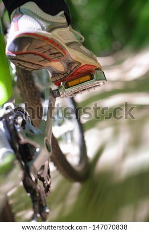 Riding a mountain bike - stock photo