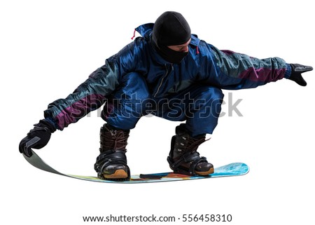 riding snowboarder isolated on white