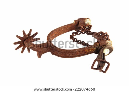 Riding spur on white background. - stock photo