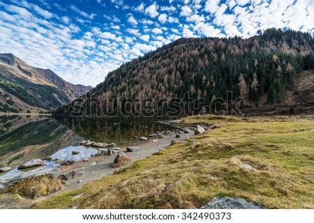Riesach lake in the mountains of the Schladminger Tauern in Austria