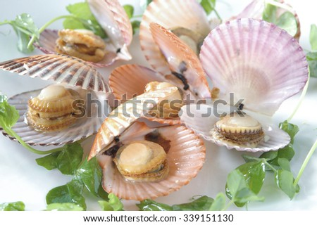 Riesling Steamed Bay Scallops - stock photo